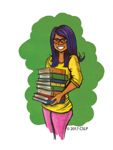 young woman holding stack of books