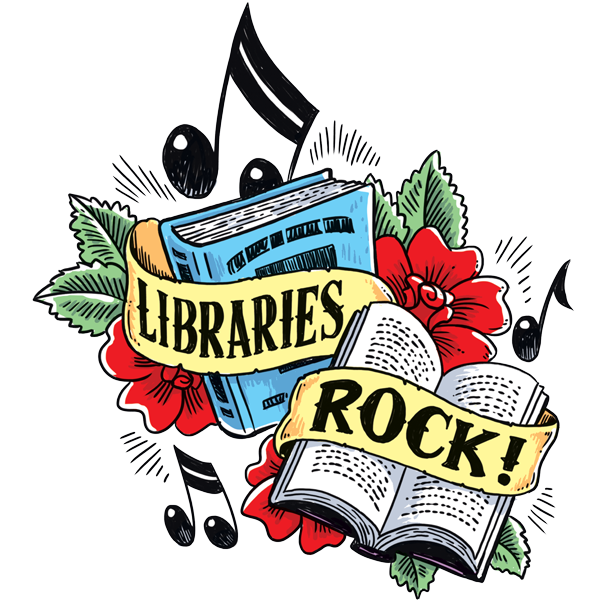 libraries rock banner in front of books