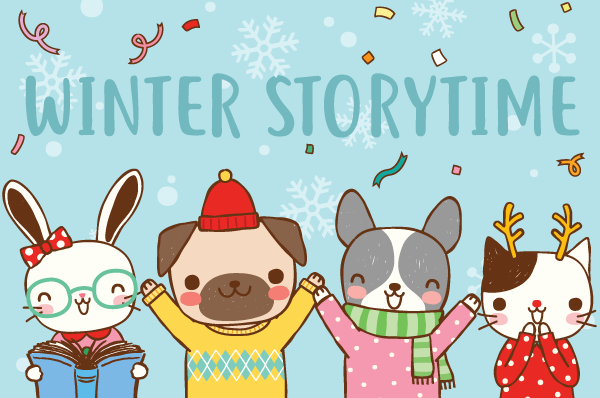 animal illustrations celebrating winter storytime