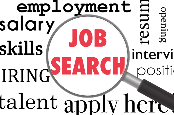 job search text in magnifying glass