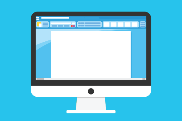 illustration of imac with microsoft word on the screen