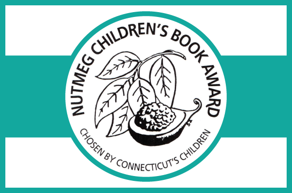 nutmeg book award logo of leaves and nutmeg illustration on teal band