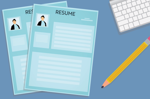 illustration of resumes, a pencil, and the corner of a keyboard