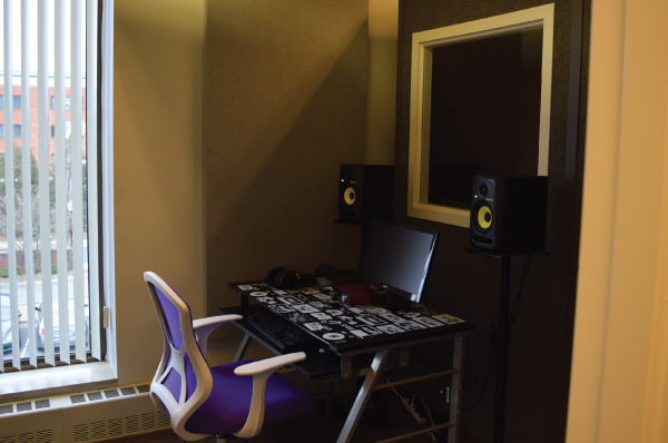 chair and desk in library's recording studio
