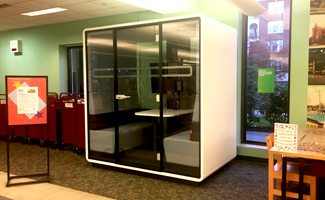image of the study pod on the library main floor