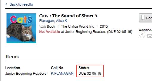 screen shot of item status location