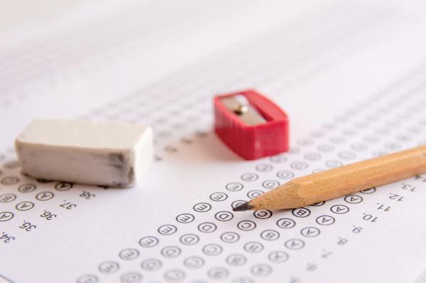test bubble sheet pencil, sharpener, and eraser