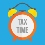 "clock with text reading ""tax time"" on face"