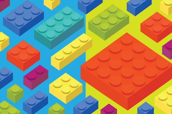 floating lego blocks