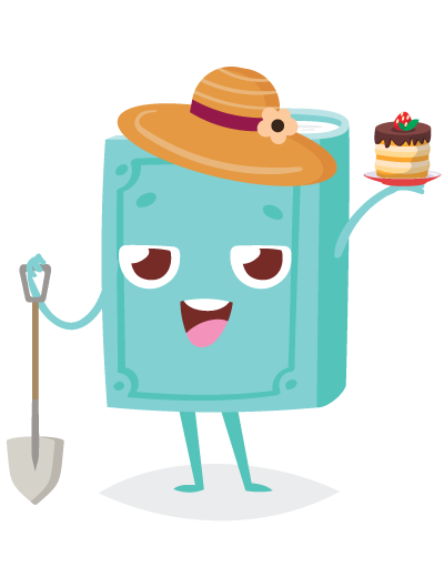 book holding a shovel and a cake